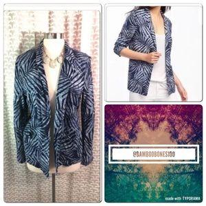 🌿 New Palm Tree Leaf Open Linen Jacket Blazer